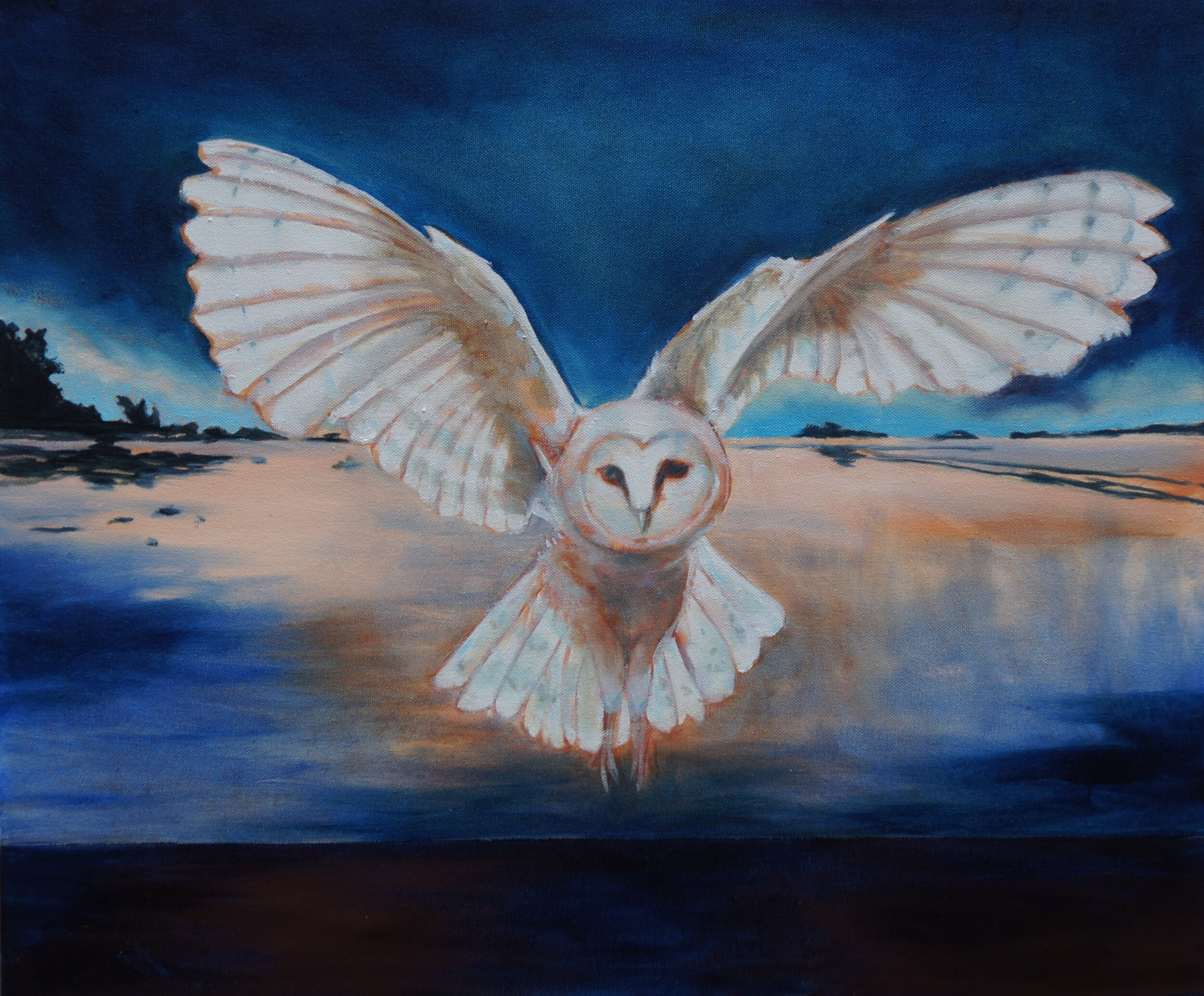 """Eternal Gaze of the Messenger V, 2019, Oil and Gold on Canvas, 20""""x24""""  Seascape in Oregon featuring owl flying over the ocean. black, dark blue and tan ocean on the horizon with dark blue sky"""