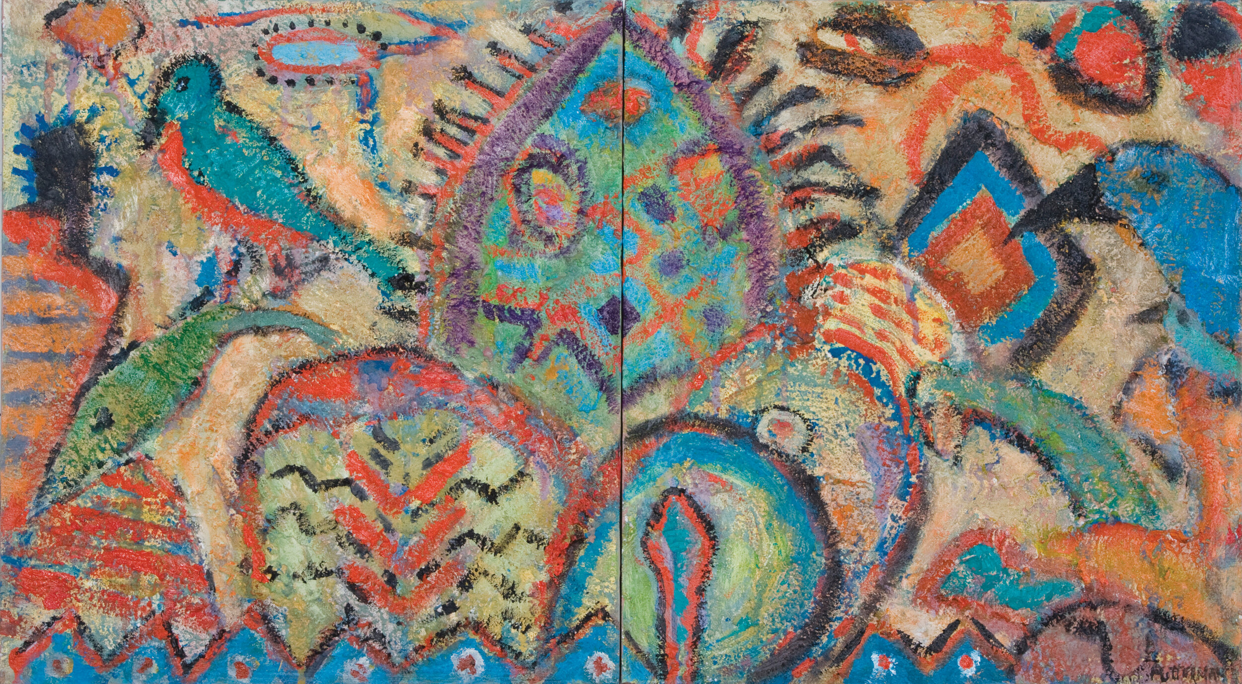 """Metaphoric Fables, 2009, Acrylic and Sand on Wood (Diptych), 20""""x36""""  2 panels of paintings on wood describing birds, trees in simplified style and multicolor on tan background"""