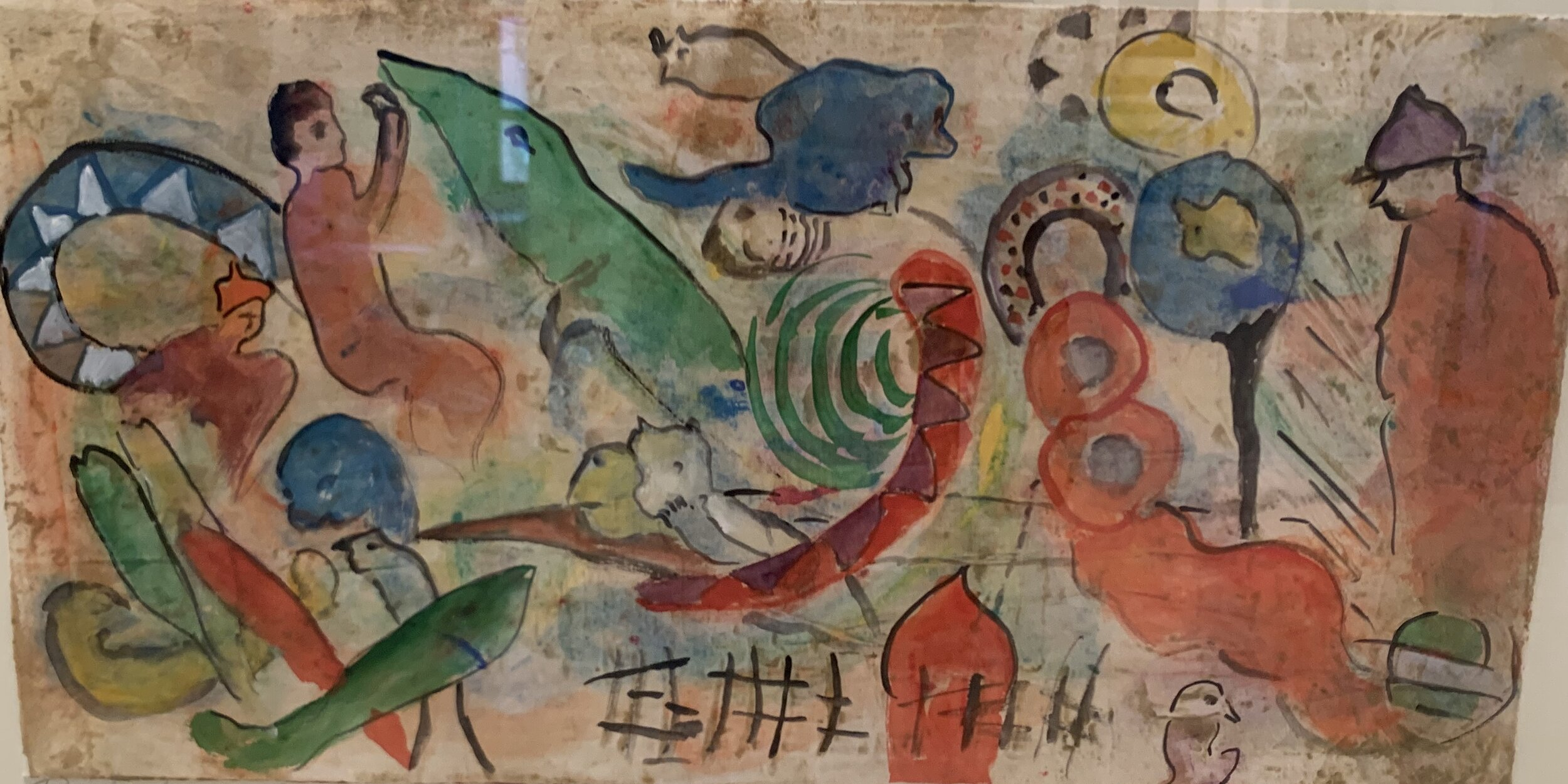 """Riddling Legends Series III #6, Watercolor Monotype, 25""""x33""""  Horizontal monotype watercolor painting with simplified shapes of humans, animals and organic shapes on tan background"""