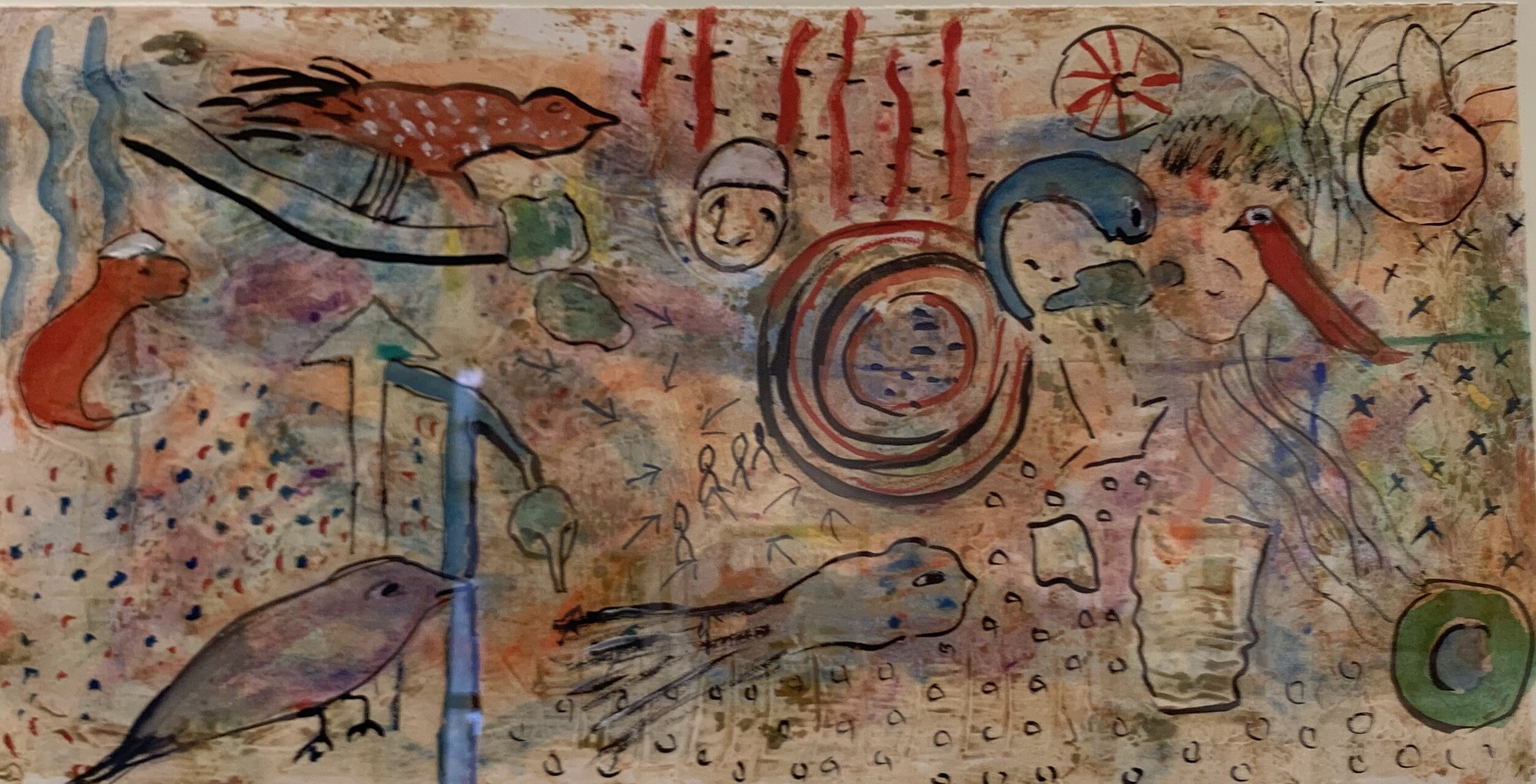 """Riddling Legends Series IV #1, Watercolor Monotype, 25""""X33""""  Horizontal monotype watercolor painting with simplified shapes of humans, animals and organic shapes on tan background"""