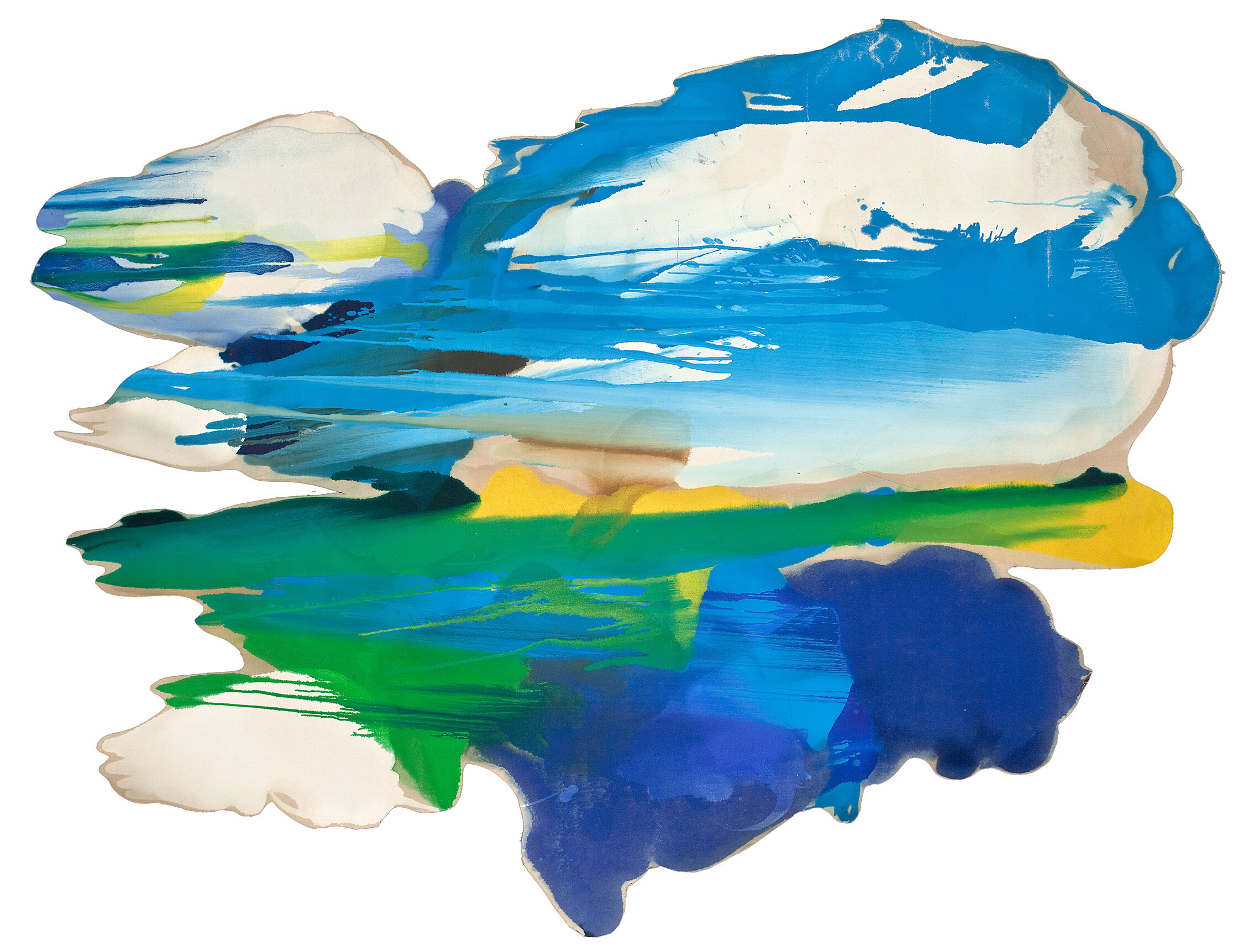 """Untitled, 1970s, Oil on Canvas, 60""""x70""""  Poured paint colorfield painting with blue, green, yellow and white cut on unprimed canvas"""