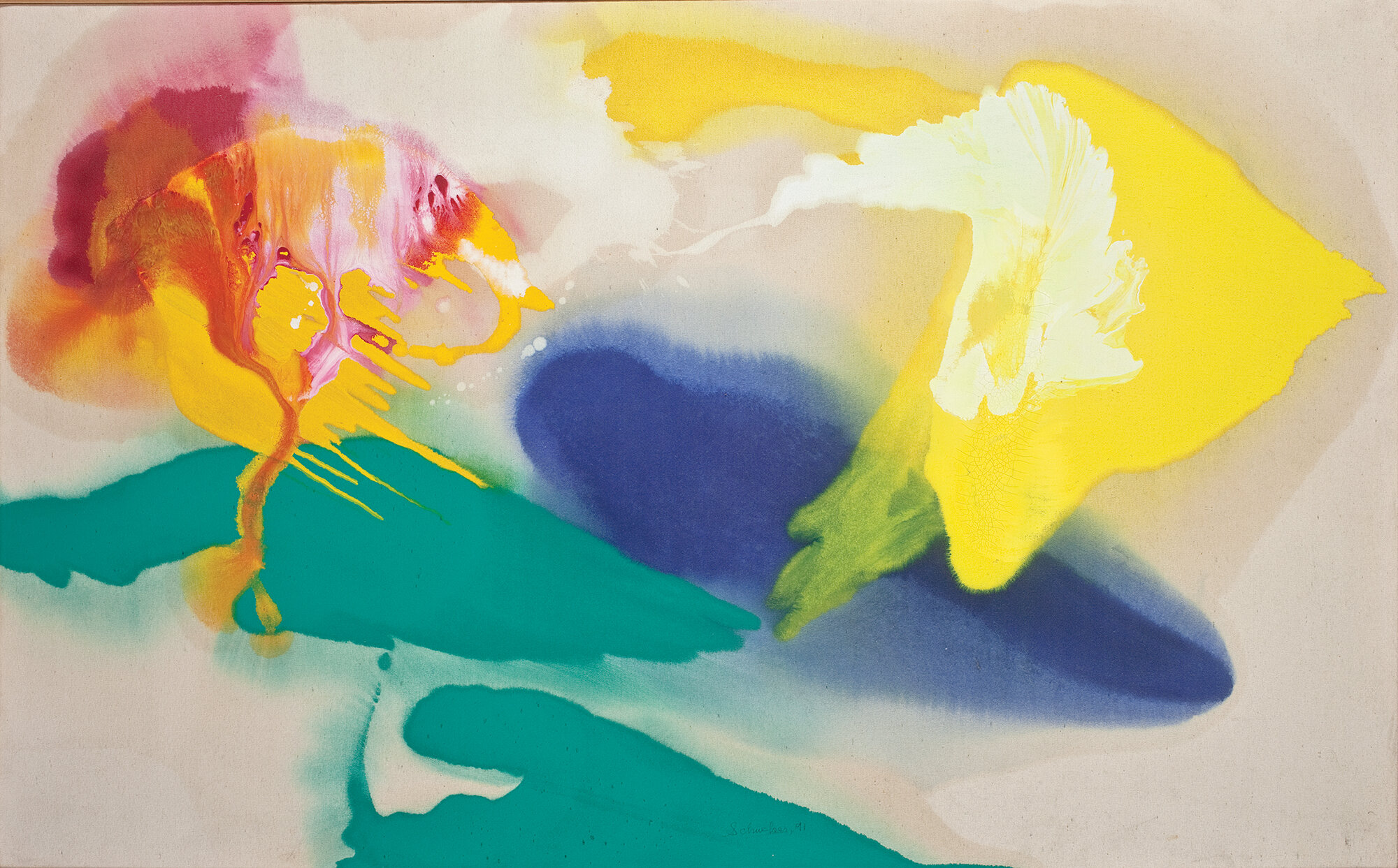 """9174 The Islands, 1991, Oil on Canvas, 36"""" x 58""""  Poured paint colorfield painting with yellow, blue, green, red on unprimed canvas"""