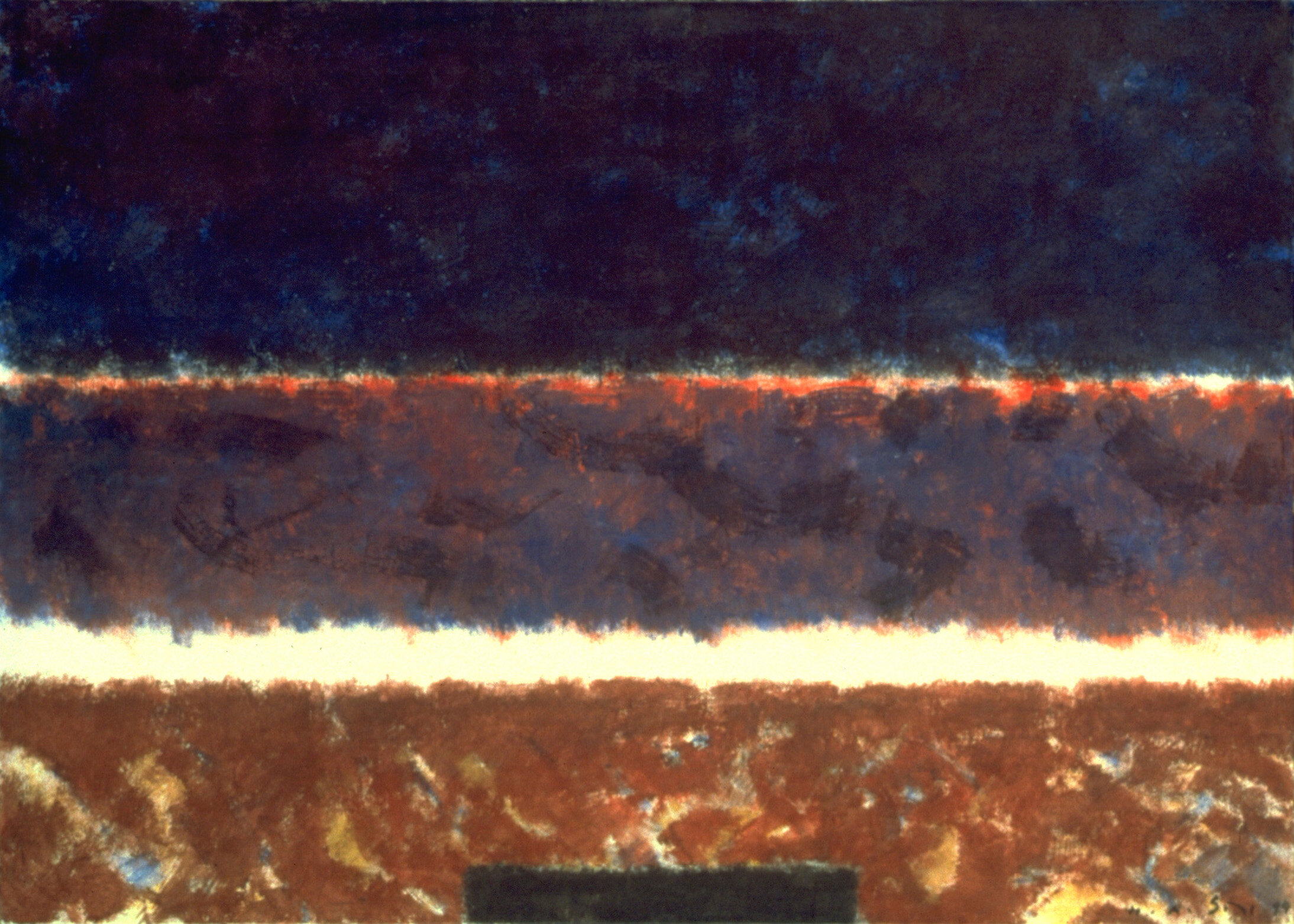 """In the Middle Realm III, Acrylic on Canvas, 50"""" x 70""""  Colorfield rectangle abstraction with brown in the foreground, with horizon and dark sky"""