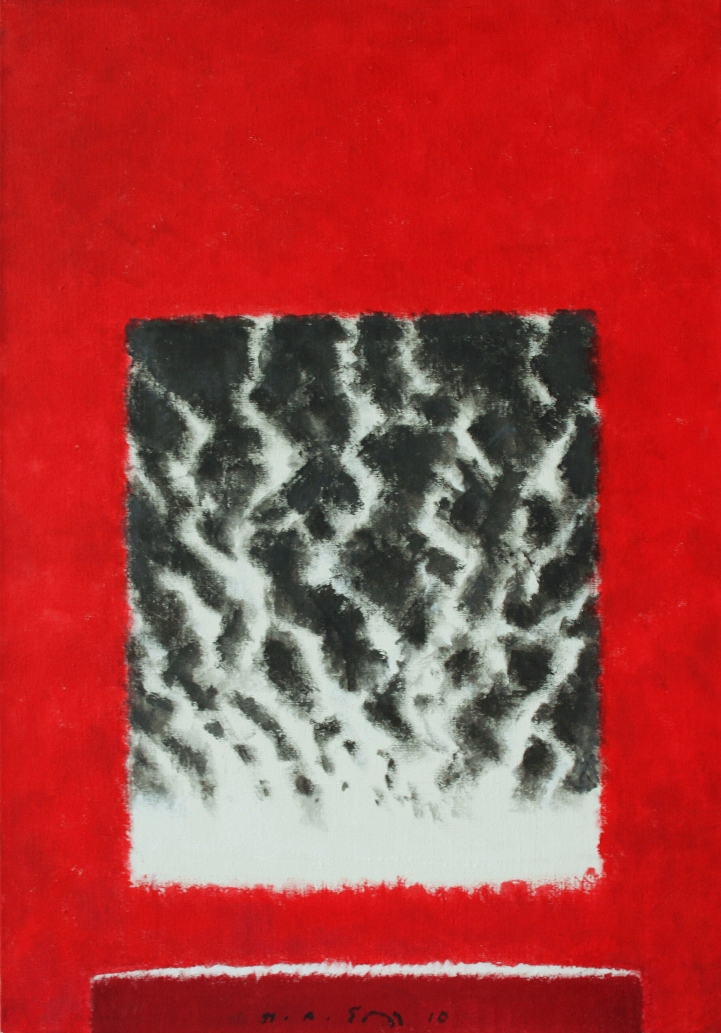 """The Course of the Rivers II, 2010, Acrylic on Canvas, 46"""" x 32""""  Vertical colorfield abstraction with red dominating, black and white river running through middle"""