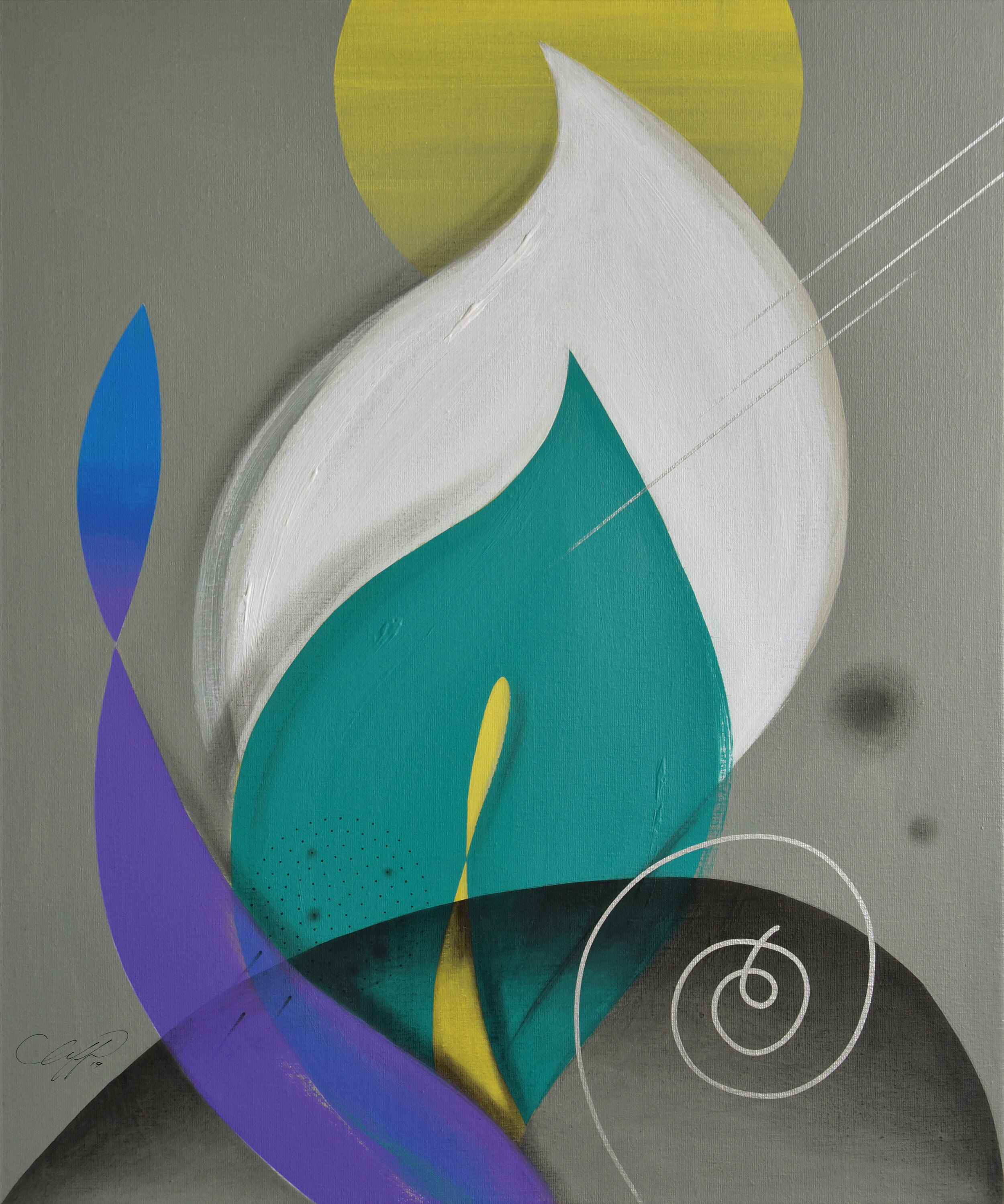 """The Beginning of Life No.73, 2019, Acrylic, Charcoal on Canvas, 28""""x24""""  Abstract painting with simplified organic shapes in green, purple, black, white, yellow on gray background"""
