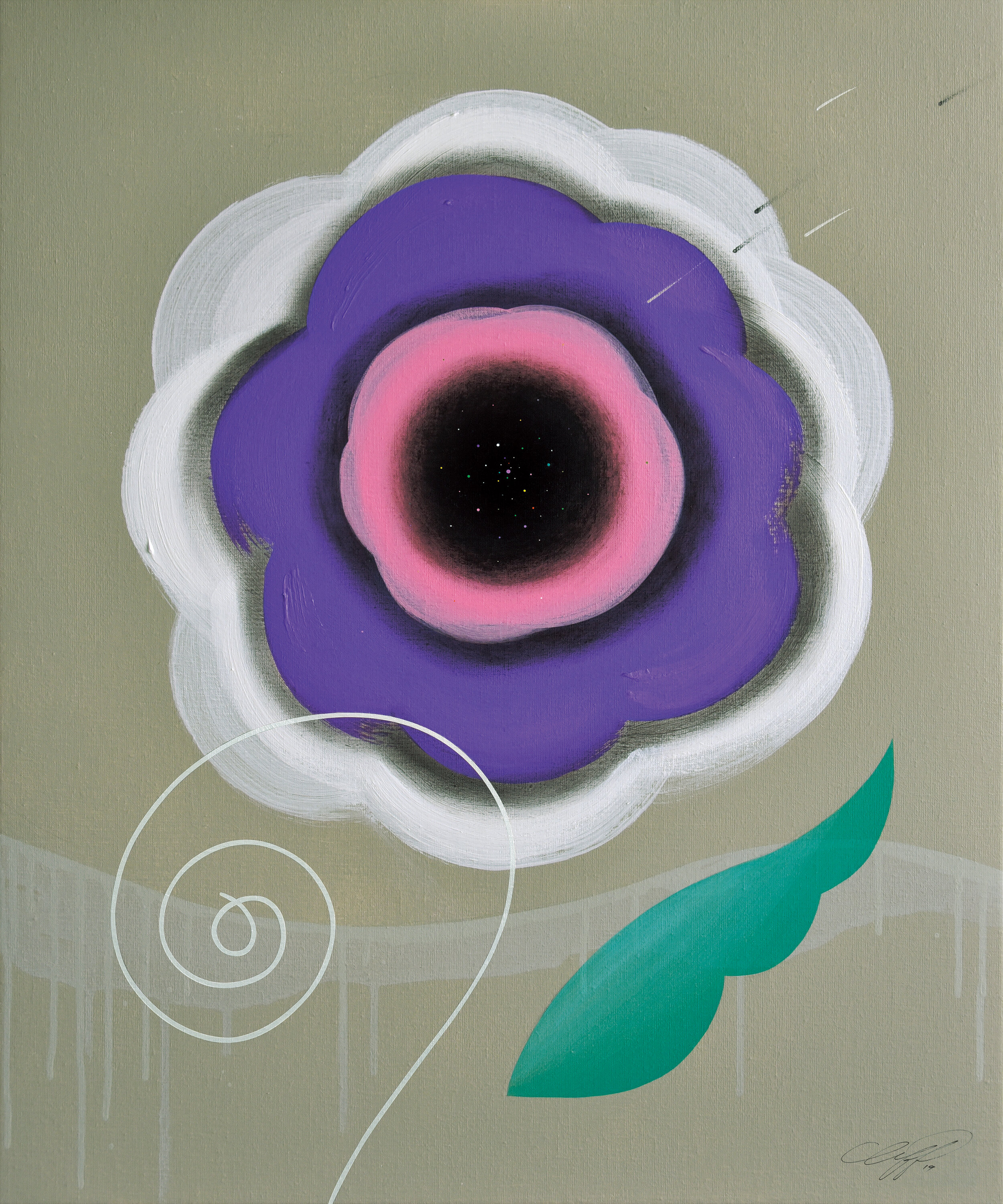 """The Beginning of Life No.74, 2019, Acrylic, Charcoal on Canvas, 28""""x24""""  Abstract painting of a flower in purple, pink, green and white on gray background"""