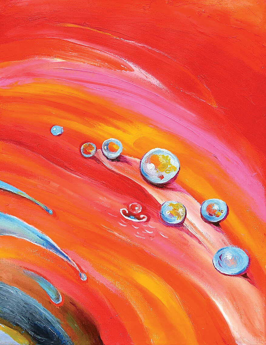 """Drop of Water No. 1, 2019, Oil on Canvas, 14"""" x 11""""x 3/4""""  Abstract painting of water drops on red, pink, orange background"""