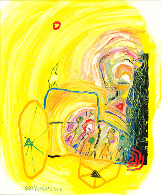 """Asphalt Pearl, 2018, Oil on Canvas, 33.5"""" x 27.6""""  Line abstract female nordic portraitures ,yellow background , abstract car"""