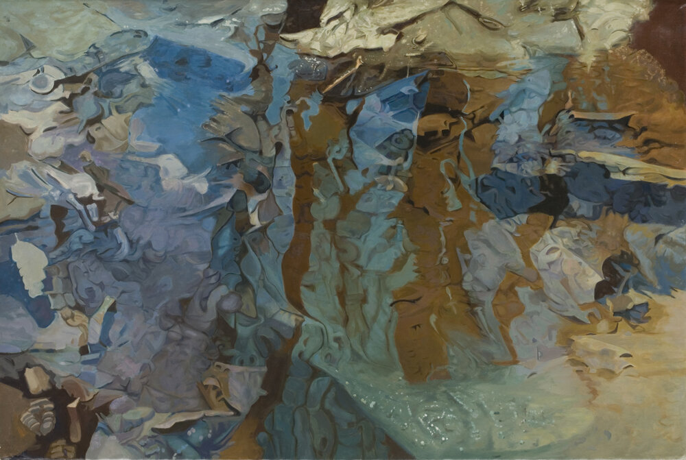 """Straylight, 1983,   Oil on linen, 47"""" x 70""""  monochromatic reflected stream pool in blue with shimmering tree reflections in brown"""