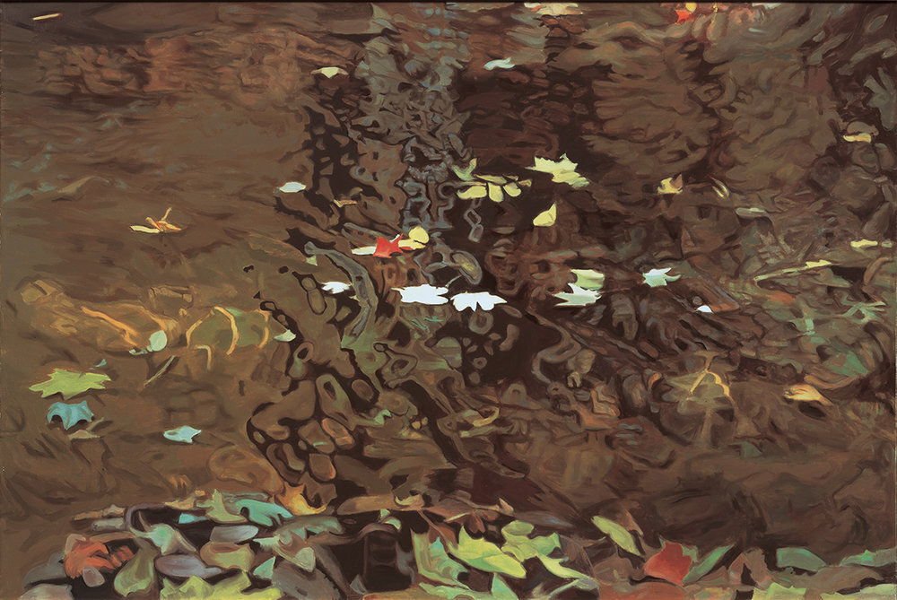 """Into the Eddy, 1981,   Oil on linen, 47"""" x 70""""  Monochromatic reflected stream pool in brown with shimmering leaves reflections in green, yellow, white and red"""