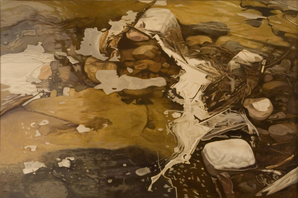 """Clogged Stream II,   1978 Oil on linen, 40"""" x 60""""  monochromatic reflected stream pool in gold with white foam against rocks damming up the stream"""