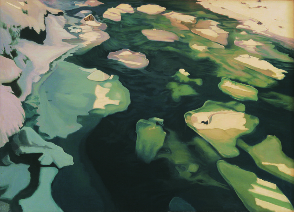 """Floating Ice,   1978, Oil on linen, 36"""" x 50""""  Monochromatic reflected stream pool in green with white ice on top of rocks"""