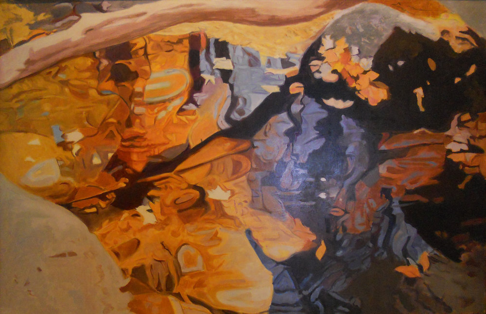 """Limb Over The Water,   1984, Oil on linen, 26"""" x40""""  Reflected stream pool in orange and purple with a tree branch crossing over at the top and shimmering reflections of tree and leaves"""