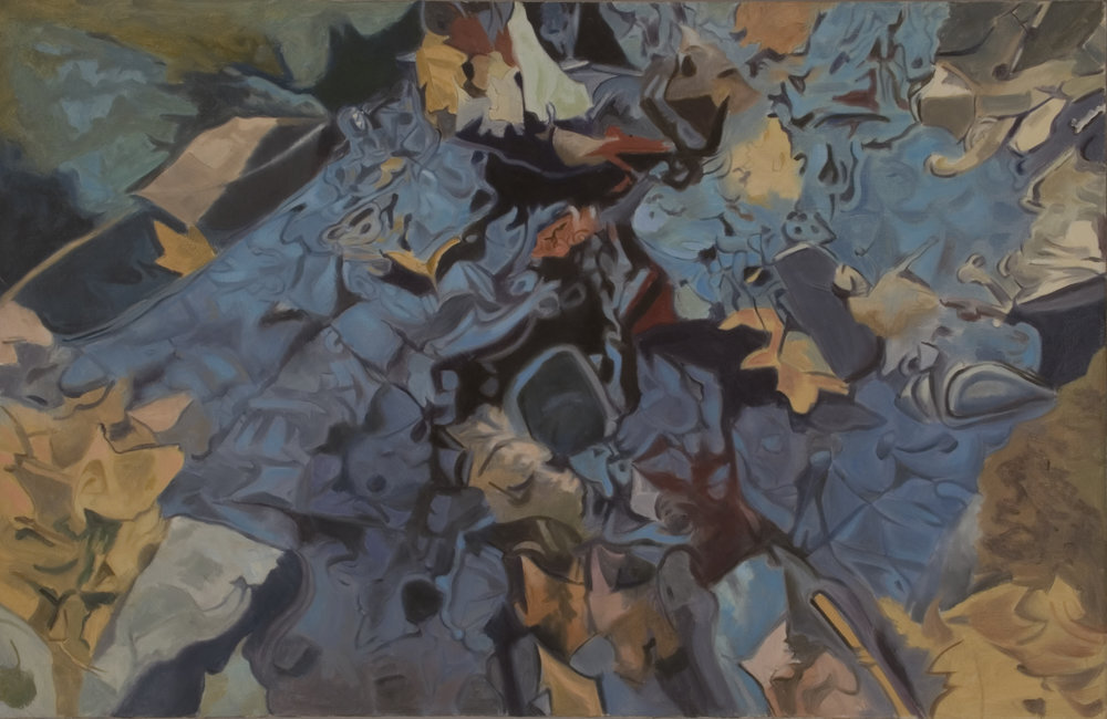 """The blue rock,   1984, Oil on linen, 26"""" x 40""""  Monochromatic reflected stream pool in blue with shimmering reflections of tree and leaves in brown and tan colors"""