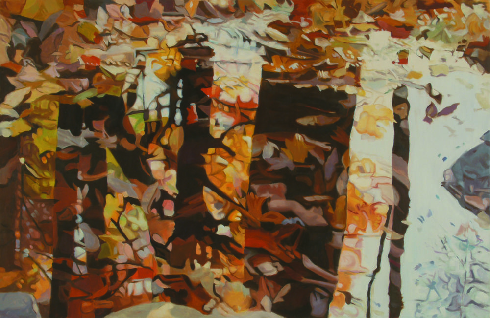 """Fall,   1985, Oil on linen, 26"""" x 40""""  Monochromatic reflected stream pool in orange with shimmering reflections of tree and leaves in brown, yellow and red"""