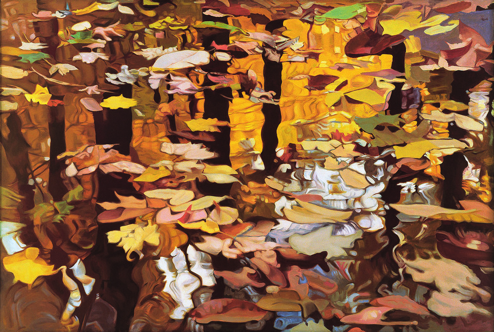 """Fall Reflections,   1980, Oil on linen, 47"""" x 70""""  Monochromatic reflected stream pool in orange with shimmering reflections of tree and leaves in brown, yellow, green and white"""