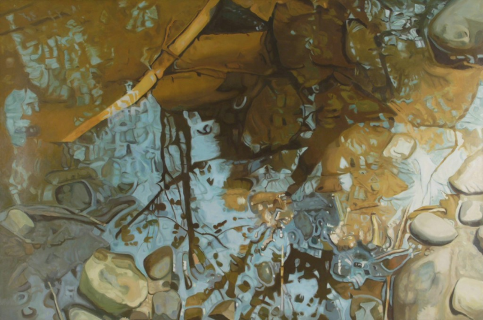 """Coruscate,   1982, Oil on linen , 48"""" × 72""""  Reflected stream pool in blue and brown with shimmering reflections of trees, rocks"""