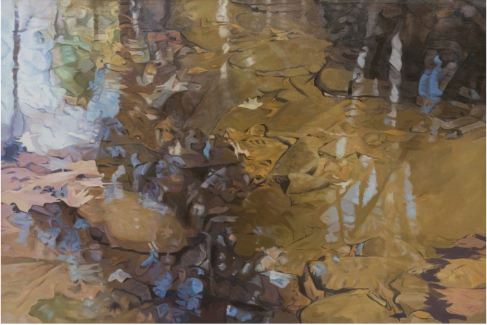 """Permeation,   1982, Oil on linen, 47 """"× 70 """"  Monochromatic Reflected stream pool in brown with shimmering reflections of trees, rocks and leaves"""