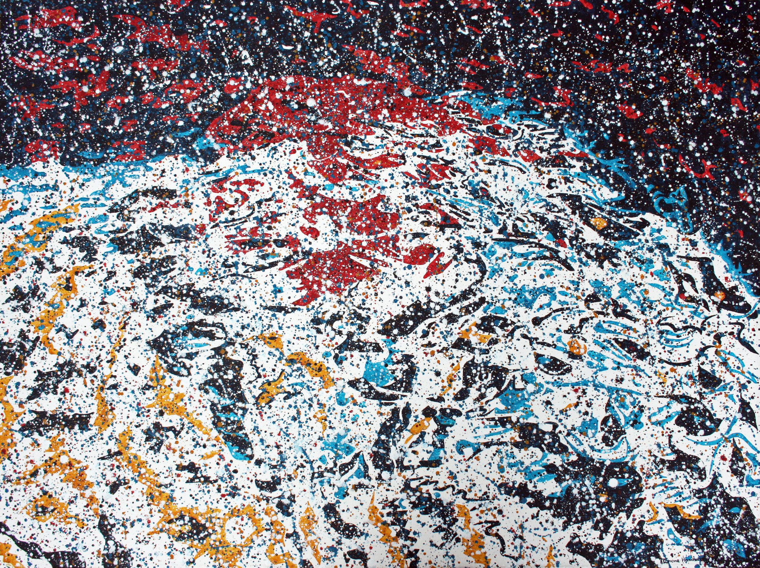 Water-based pointillistic abstraction painting with fragmented shapes and red, black, blue, yellow areas.