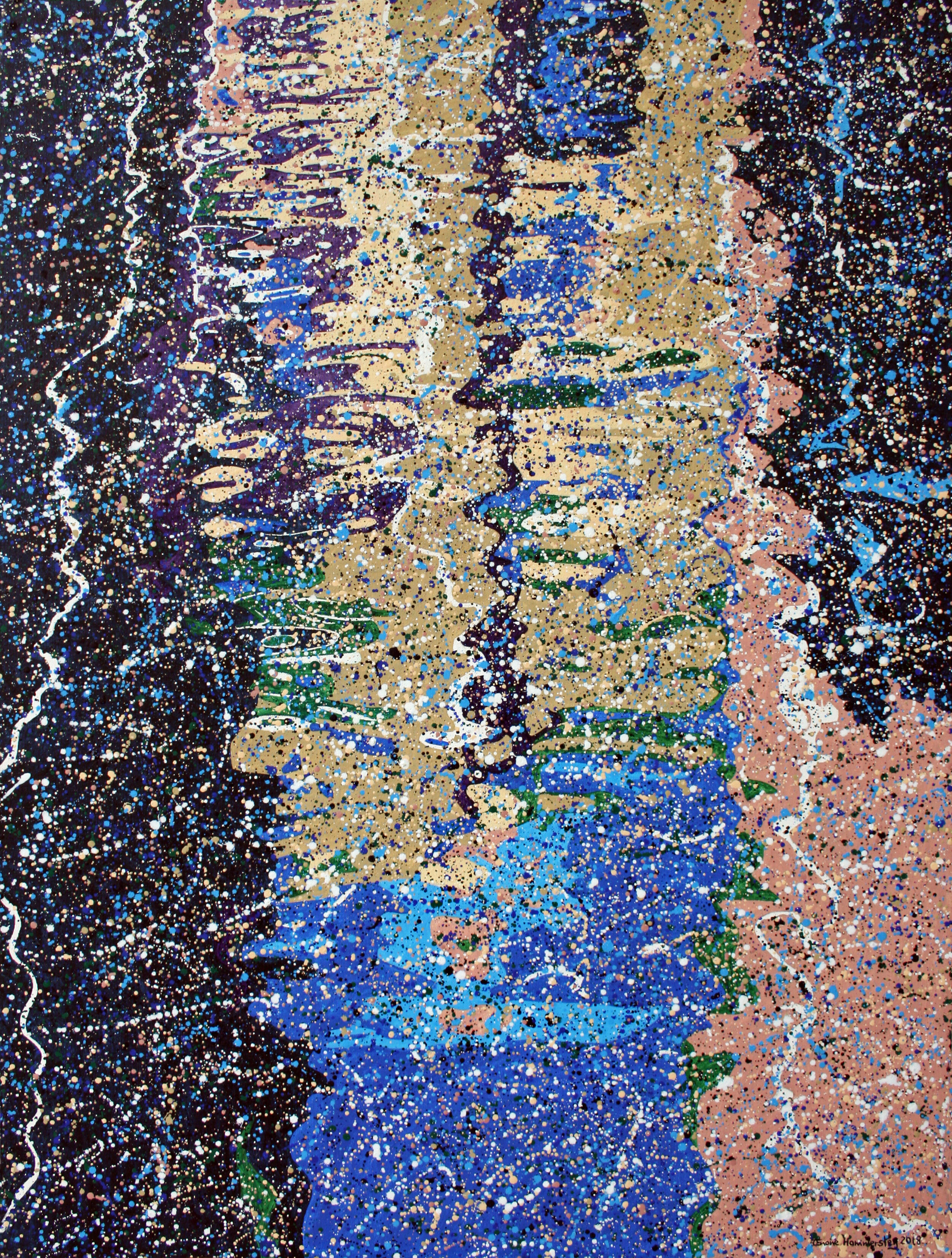 Water-based pointillistic abstraction painting with fragmented shapes and lines. Black, yellow, pink, blue and green areas.