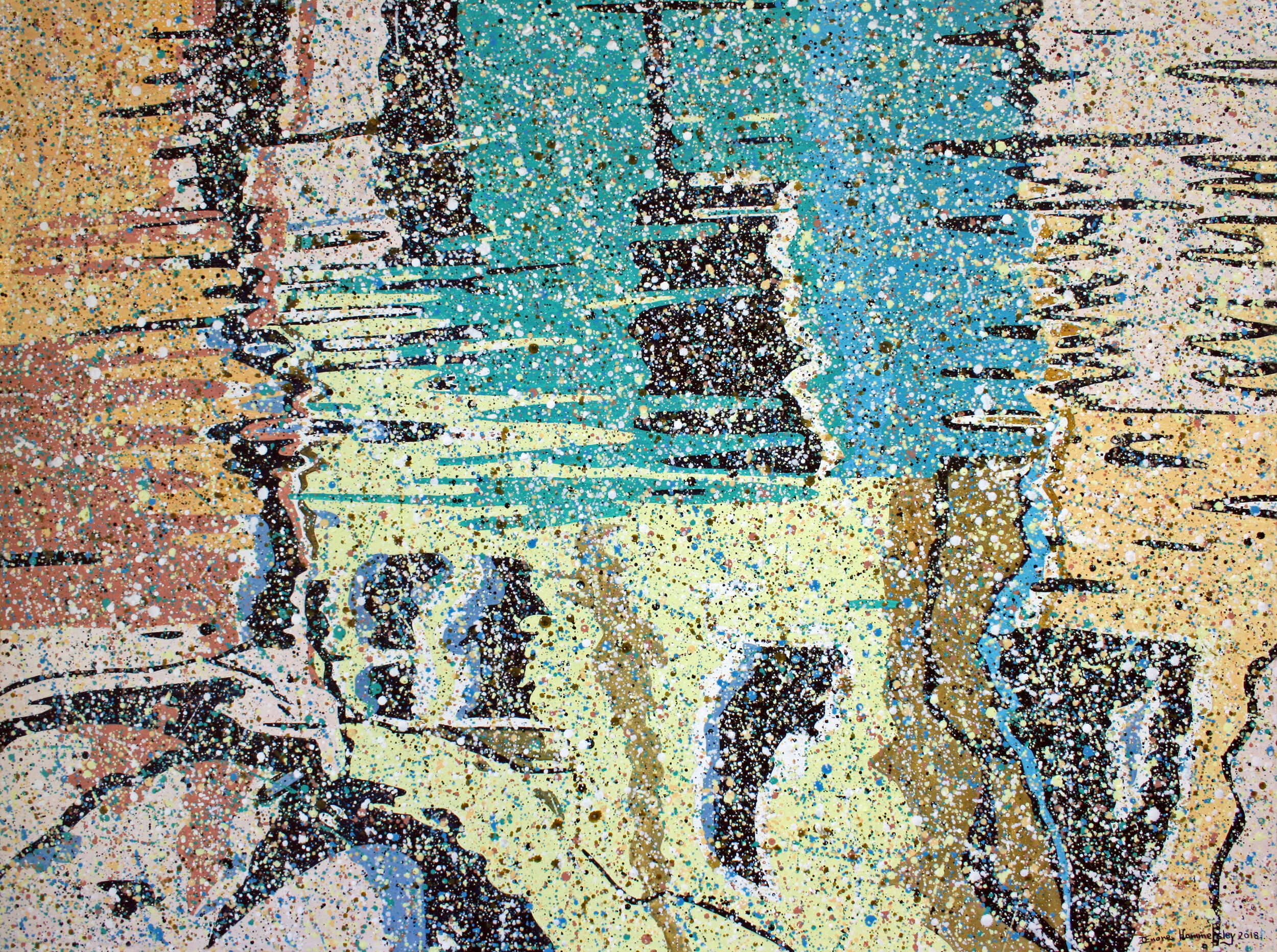 Water-based pointillistic abstraction painting with fragmented shapes and lines. yellow, green, red, black areas.