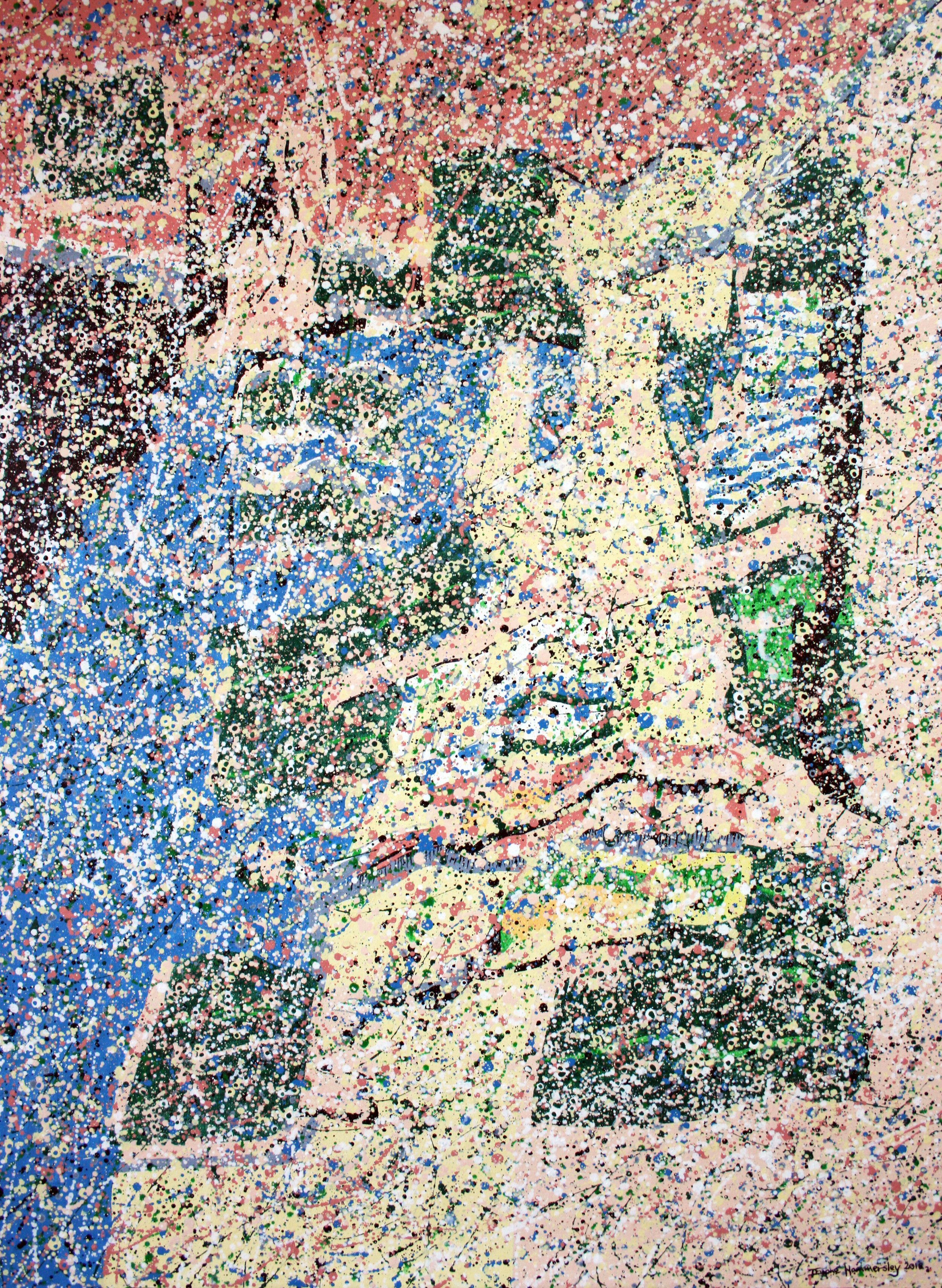 Water-based pointillistic abstraction painting with fragmented shapes and lines. yellow, blue, red, green areas.