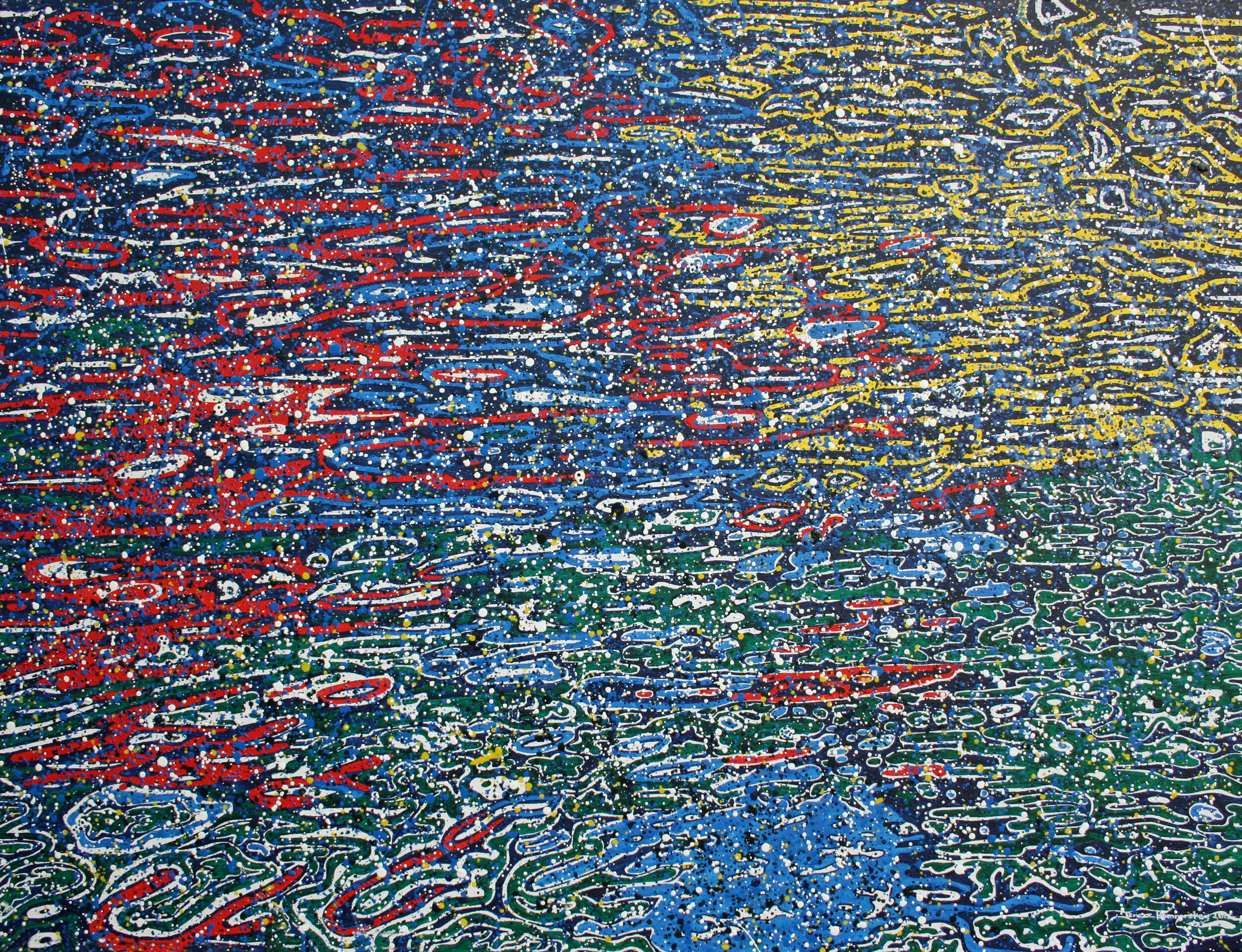 Water-based pointillistic abstraction painting with fragmented shapes and lines. red, blue, yellow, green areas