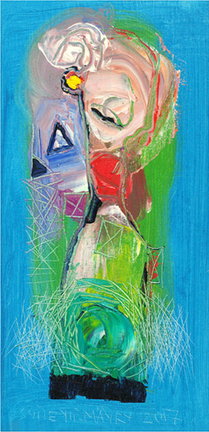 """Asphalt Dream , 2017, Oil, 16"""" x 8"""".  female white abstract nordic portraiture with blue background."""