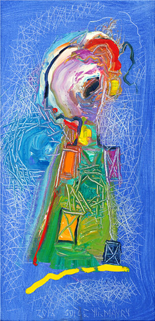 """Dream Bridge , 2018, Oil, 15.7"""" x 8"""".  Female abstract nordic portraiture with palette-like face, expressionist facial tones, eyes, mouth in white, green, red color in blue background."""