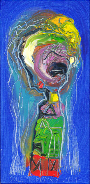 """Your Number , 2017, Oil, 15.7"""" x 8"""".  Female abstract nordic portraiture with palette-like face and hair, expressionist facial tones, eyes, mouth in bright blue background."""