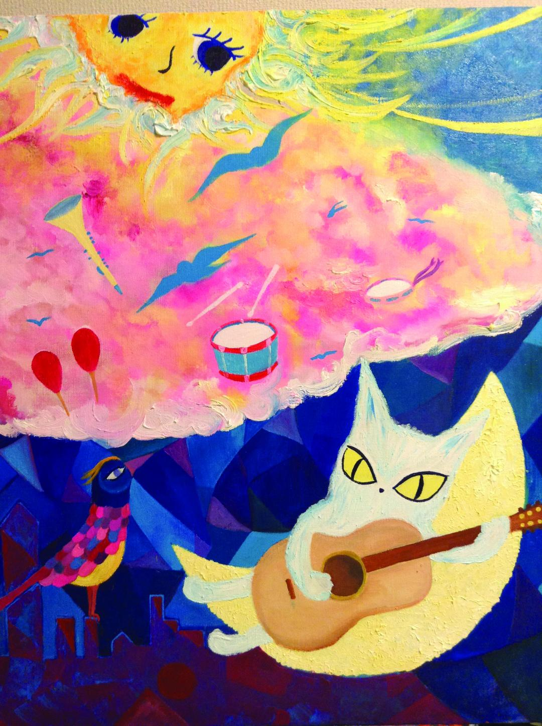 Abstract painting with a cat playing guitar, bird on the foreground. Sun on the upper left corner with pink and yellow clouds, in a blue background.