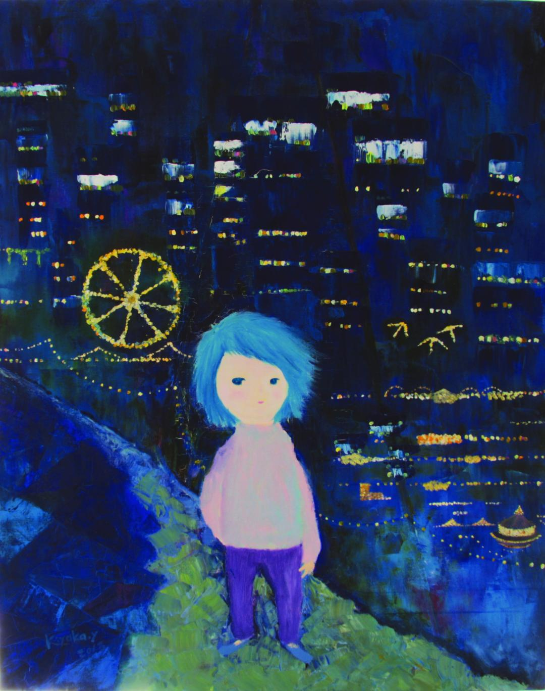 Abstract painting with a child-like figure in the center walking. Green and blue foreground, dark blue buildings and night sky with lights in the background.