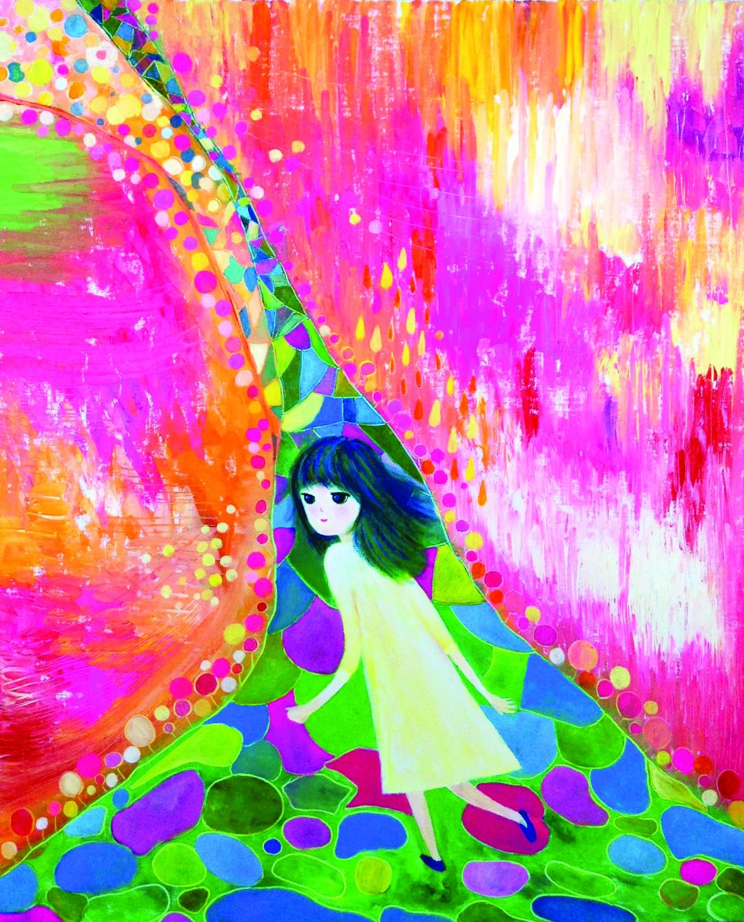 Abstract painting with a child-like figure in the center walking. Green, purple blue alley in the center and bright pink background.
