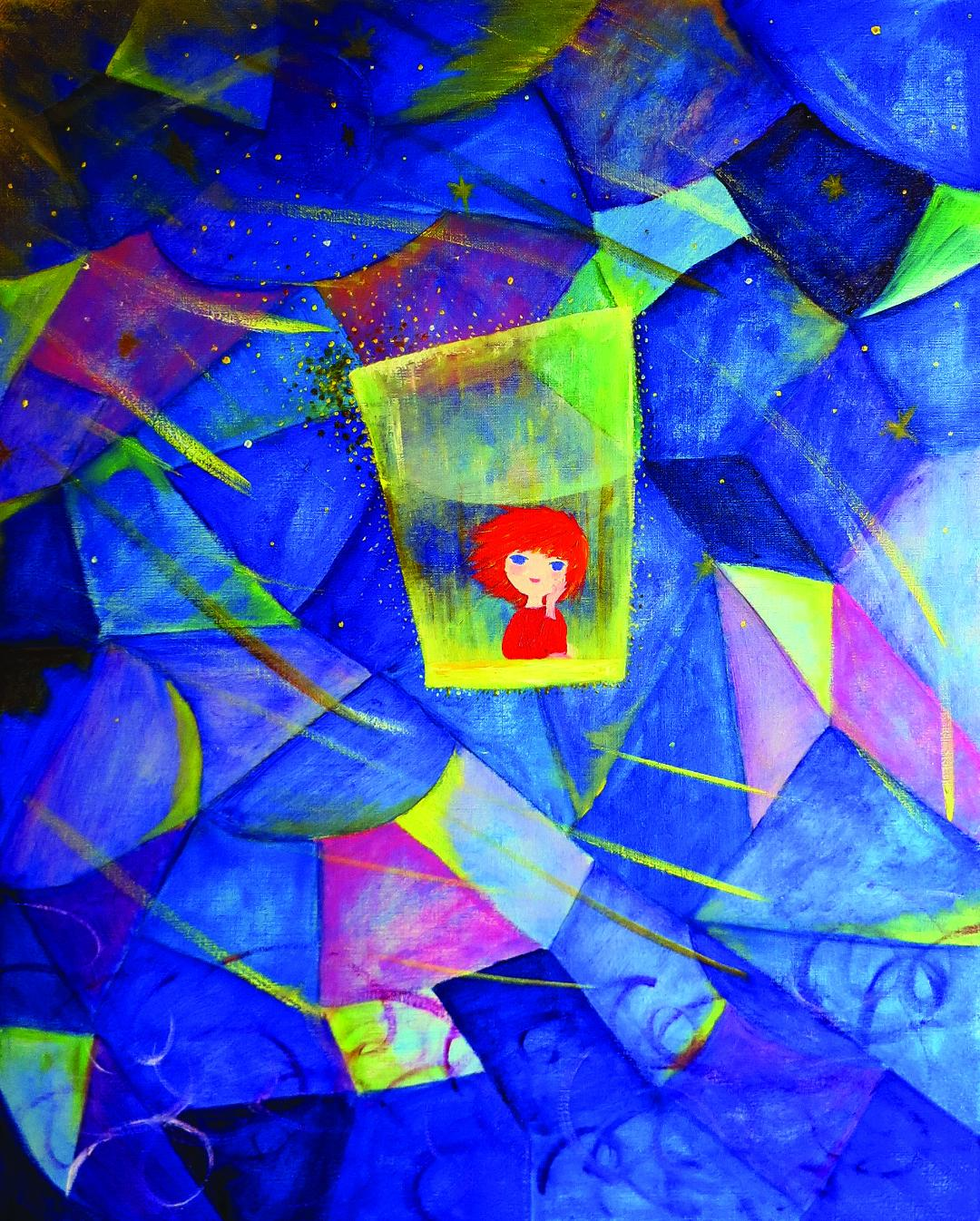Abstract painting with a red-haired child-like figure in the center, blue fragmented shapes and yellow stars throughout the background