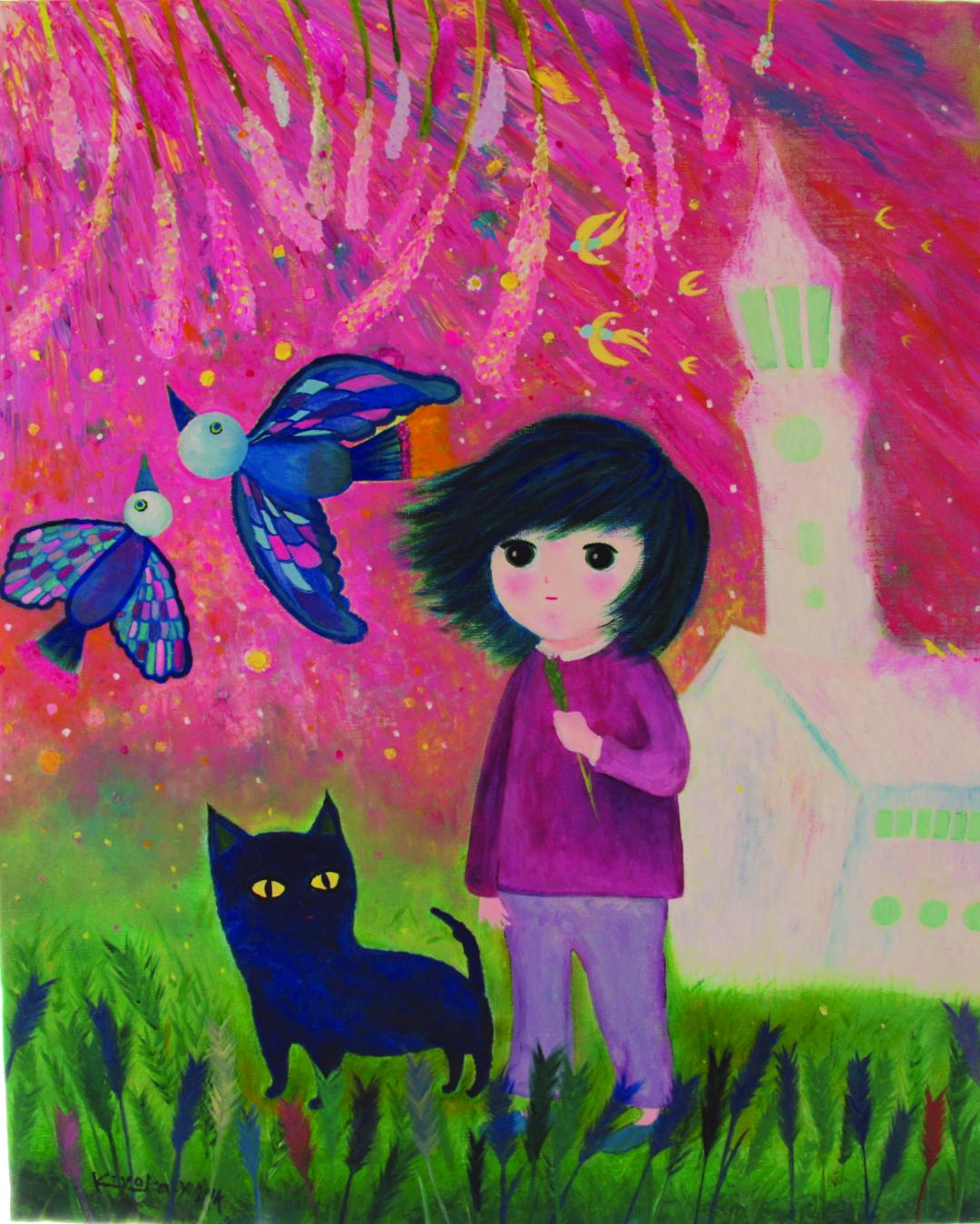 Abstract painting with a child-like figure and cat, birds. Grass on the foreground, a white house and pink sky in the background.