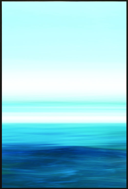 Colorfield vertical abstraction seascape with blue and white horizon in upper half.