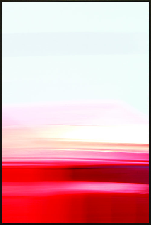 Colorfield vertical abstraction seascape bottom third red, upper third pink and white.