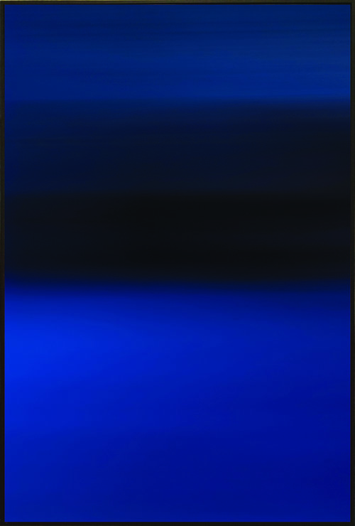 Colorfield blue vertical print with black band in the upper half.