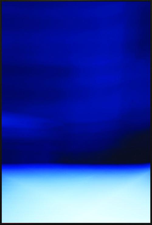 Colorfield vertical abstraction seascape light blue bottom third, dark blue upper two thirds.