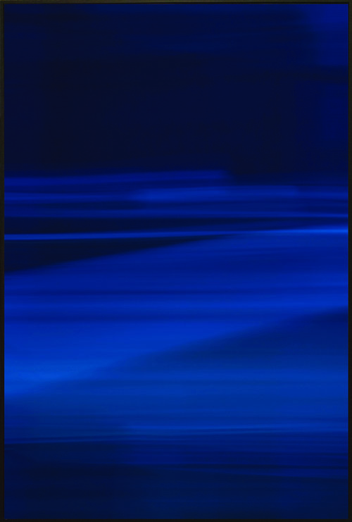 Colorfield vertical abstraction seascape in blue in bottom half, navy in upper half.