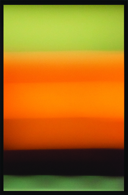 Colorfield vertical abstraction green and brown lower third, orange and green upper two thirds.