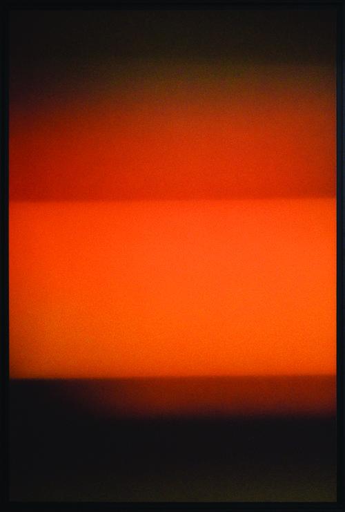 Colorfield vertical abstraction dark brown lower third, orange and light brown upper thirds.