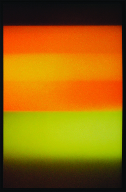 Colorfield vertical abstraction brown and green lower half, orange and brown upper half.