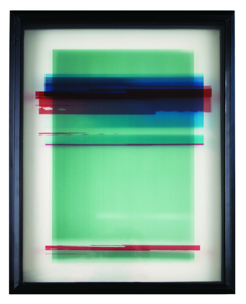 Colorfield abstraction of photographic collage with transparent layers of rectangles. Green dominating with red, blue bands throughout on white background.