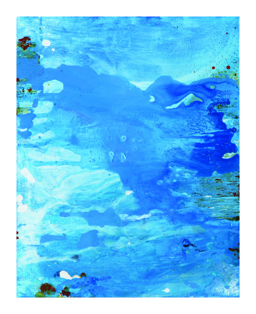 "Lotus Rising No.11 , 2012, Acrylic Ink, Acrylic Paint on Canvas, 20"" x 16""  Blue cloud-like surfaces cover the canvas."