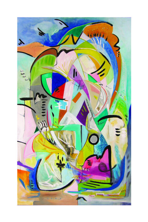 """Proof , 2018, Sumi Ink, Graphite, and Oil on Canvas, 60"""" x 36"""".  Earth tones, blue-green, beige, grey, multitude of intersecting freeform shapes, black curved lines."""
