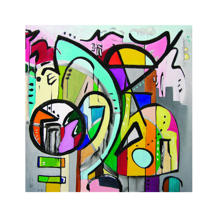 """Rhythm No Algorithm 2 (SOLD), Sumi Ink, Graphite, and Oil on Canvas, 36"""" x 36"""", 2018.  Bright and bold color, grey, pink, orange, yellow, red, blue, green. Thick black curved lines. Multitude of intersecting freeform shapes."""