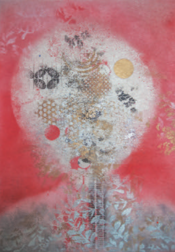 Asian inspired abstraction with dominant white moon in the middle surrounded by red background and silver leaves on a gold foreground.