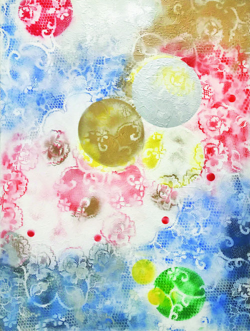 """CELEBRATE I, 2018, Oil / Gesso on Linen, 48"""" x 36"""".  Asian inspired abstraction with background as cloud-like colors of blue, tan and red, with white lacey floral patterns layered on top. There are one circular gold and one circular white in the middle, one circular red on the top, and one circular green at the bottom of the painting."""