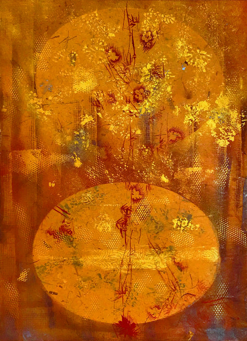 """Equinox, 2018, Oil based Ink on Mulberry paper Board Mount, 35"""" x 25"""" x 2"""".  Asian inspired abstraction with the color yellow dominating with yellow circle in the middle."""